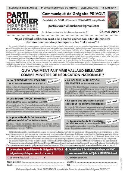 Communiqué n°3 (26 mai) - Grégoire PRIVOLT Législatives 2017