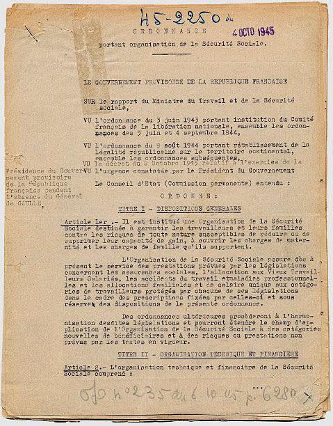 Ordonnance du 4 octobre 1945 relative à l'organisation de la S