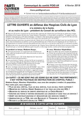 Lettre ouverte en défense des Hospices Civils de Lyon